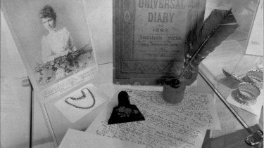Ethel Turner's papers and writing materials on show during an exhibition on her life.