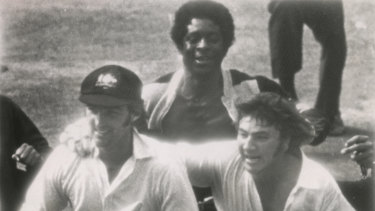 """""""We weren't going to lose that one': Paul Sheahan and Rod Marsh run towards the dressing rooms at The Oval after winning the Fifth Test in 1972."""