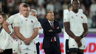 Eddie Jones looks on after England's 32-12 loss to South Africa in the 2019 Rugby World Cup final.