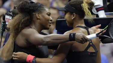 Serena Williams congratulates Naomi Osaka after losing to her in the US Open final in September last year.