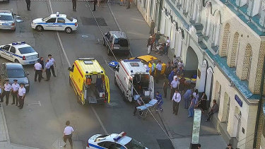 A taxi crashed into pedestrians on a footpath near Red Square in Moscow on Saturday.