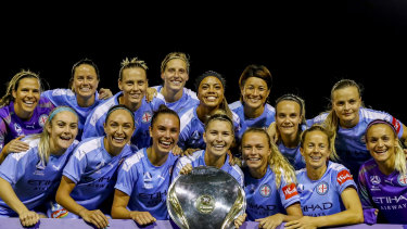 Melbourne City celebrate after being crowned the W-League premiers on Thursday night.