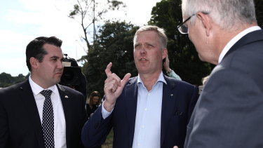 Michael Sukkar, Tony Smith and Scott Morrison announce $154 million to upgrade choked roads in Melbourne.