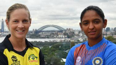 Australia captain Meg Lanning and India captain Harmanpreet Kaur.
