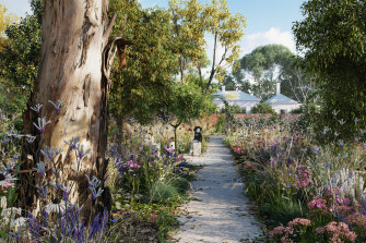 A design render of the healing garden that is being established at the Heide Museum of Modern Art.