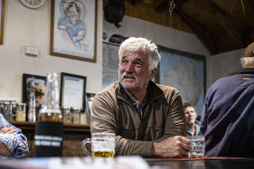 A patron in the main bar of the Patchewollock pub.