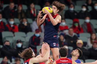 Luke Jackson soars for a mark against the Lions