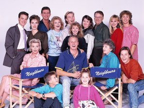 The cast of Neighbours in 1989,  including Kylie Minogue, Jason Donovan and Guy Pearce.