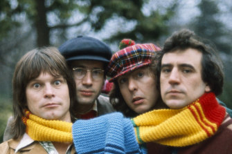 Terry Jones, right, with (L-R) Terry Gilliam, Neil Innes, and Eric Idle.