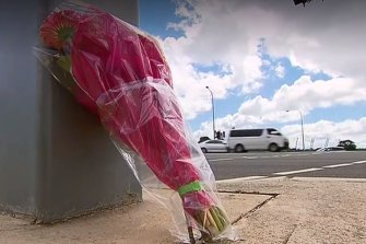 Flowers left for the 12-year-old victim of a crash near Baulkham Hills.