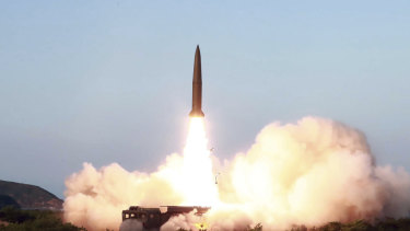 This July 25 photo by the North Korean government shows a test of a missile launch in North Korea.