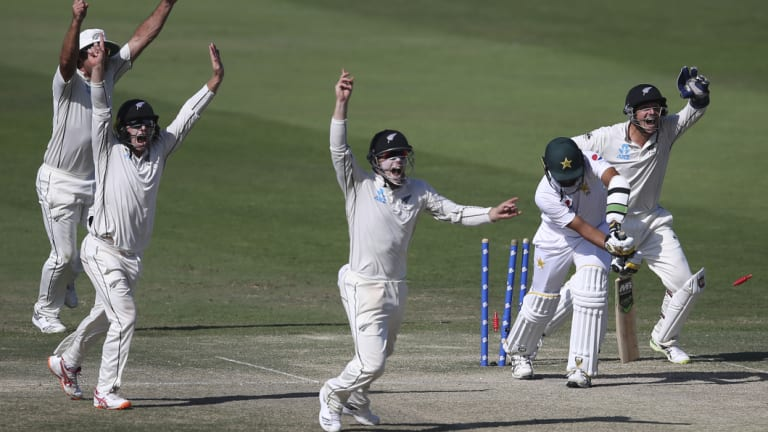 The Kiwis celebrate a wicket on a dramatic day four.