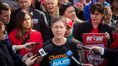 Sally McManus speaks at the Change the Rules rally on May 9, 2018 in Melbourne.