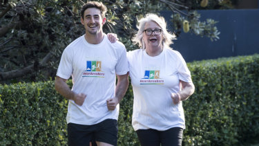 Swapping boots for runners: Henry Clunies-Ross with Prince of Wales Hospital Foundation CEO Leanne Zalapa.