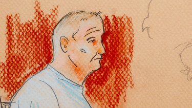 This courtroom sketch depicts Robert Gregory Bowers, who appeared in a wheelchair at federal court on October  29 after he was wounded in a gun battle with police.