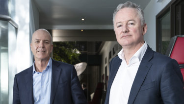 Fairfax Media's Greg Hywood  and Hugh Marks of Nine Entertainment.