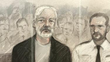 Court artist sketch depicting Julian Assange at Southwark Crown Court in London.