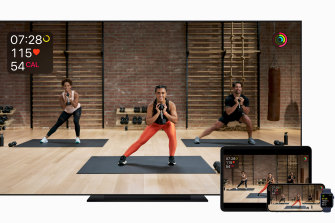 An Apple Watch is required for Fitness , and metrics from your device are displayed live on whatever screen you're using to watch the video.