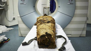 In an undated photo from Leeds Teaching Hospitals/Leeds Museums and Galleries, the mummy of Nesyamun, a priest who lived in Thebes about 3,000 years ago, ready for CT scanning. Scientists used a 3-D printer, a loudspeaker and computer software to recreate a part of the voice of a 3,000-year-old mummy. (Leeds Teaching Hospitals/Leeds Museums and Galleries via The New York Times) -- NO SALES; FOR EDITORIAL USE ONLY WITH NYT STORY MUMMY 3D MOUTH BY NICHOLAS ST. FLEUR FOR JAN. 23, 2020. ALL OTHER USE PROHIBITED. --  In an undated photo from Leeds Teaching Hospitals/Leeds Museums and Galleries, the mummy of Nesyamun, a priest who lived in Thebes about 3,000 years ago, ready for CT scanning. Scientists used a 3-D printer, a loudspeaker and computer software to recreate a part of the voice of a 3,000-year-old mummy. (Leeds Teaching Hospitals/Leeds Museums and Galleries via The New York Times)  -- NO SALES; FOR EDITORIAL USE ONLY WITH NYT STORY MUMMY 3D MOUTH  BY NICHOLAS ST. FLEUR FOR JAN. 23, 2020. ALL OTHER USE PROHIBITED. --
