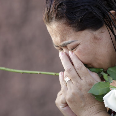 A woman cries during a Mass for the victims of Brumadinho last month.