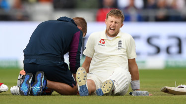 Joe Root was in the wars during his innings in the fourth Test.