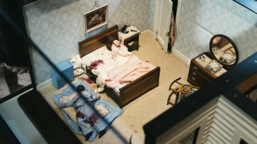 """Three-Room Dwelling,"" a miniature crime scene by Frances Glessner Lee."