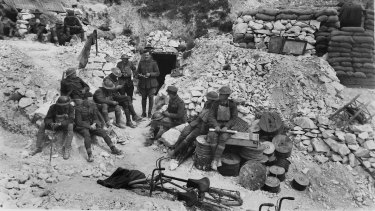 The Australian 4th Brigade's headquarters in a quarry near Hamel on July 3, 1918, the eve of the attack.