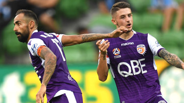 Perth Glory's Diego Castro celebrates after his goal against Melbourne City.
