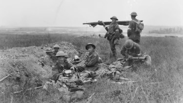 American and Australian stretcher bearers working together in the front line area during the Battle of Hamel.