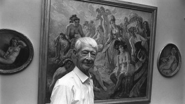 Artist Norman Lindsay at home, 20 Feb 1969.