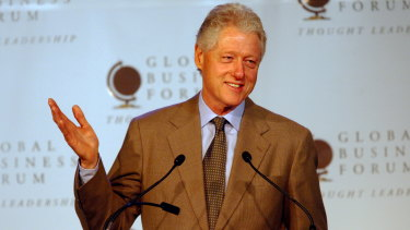 Bill Clinton speaks at the Global Business Forum at Telstra Dome in 2006.