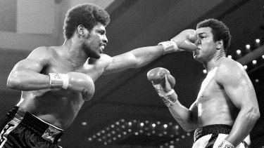 Leon Spinks flattens the nose of Muhammad Ali during their heavyweight title fight at Las Vegas on February 15, 1978.