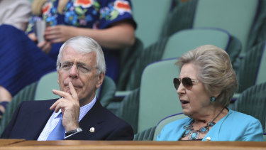 Former British prime minister John Major and his wife Norma at Wimbledon in July.