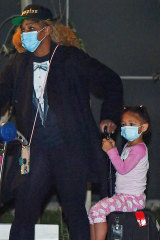 Serena Williams with her daughter Alexis Olympia Ohanian Jr. arrives at Adelaide Airport.