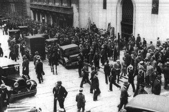 Panic in Wall Street, New York, 1929.