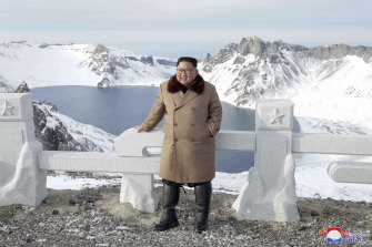 North Korea's state news agency recently released photographs of leader Kim Jong-un on snow covered mountains.