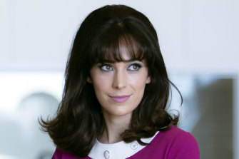 Geraldine Hakewill plays the feisty feminist and naturally gifted murder sleuth Peregrine Fisher.