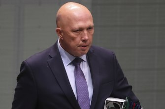 Defence Minister Peter Dutton on Wednesday.