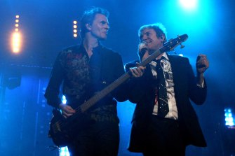 John Taylor and Simon Le Bon of Duran-Duran onstage.