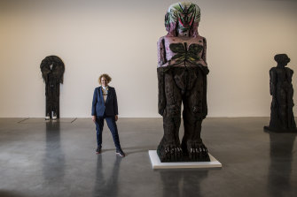 MCA director Liz Ann Macgregor with works by Huma Bhabha for the Biennale of Sydney.