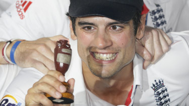 Urned it: Alastair Cook after winning the 2013 Ashes.