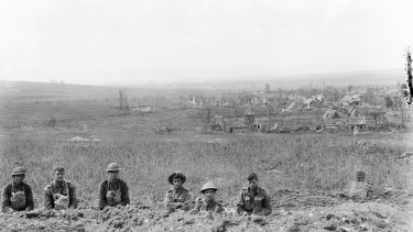 The village of Hamel and the country in the direction of Corbie, seen from the trenches held by the Germans until the battle of Le Hamel on 4 July 1918.