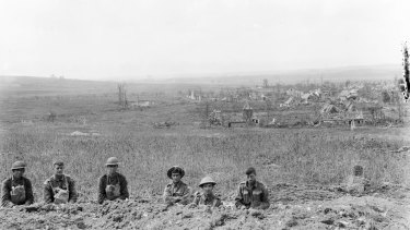 Soldiers in front of the village of Hamel, which was held by the Germans until Australian-led Allied forces took it back on July 4, 1918.