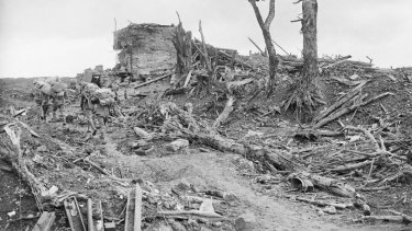 Australian soldiers amid the devastation of Pozieres.