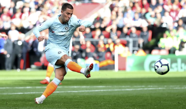 Chelsea's Eden Hazard scores against Southampton at St Mary's on Sunday.