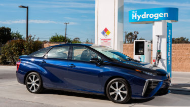 The Toyota Mirai, a hyrdogen-powered car.