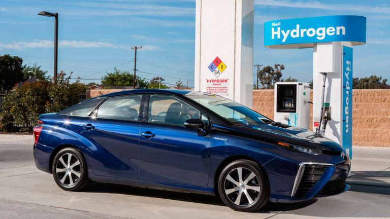 The Toyota Mirai, a hyrdogen-powered car.