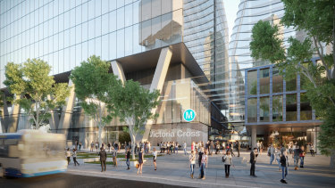 An artist's impression of Victoria Cross Metro station. The Committee for North Sydney opposes the tower planned for the site.