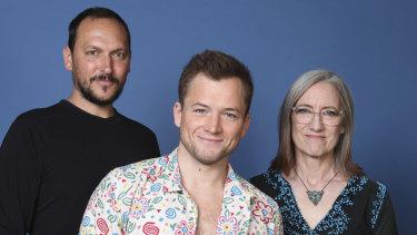 Louis Leterrier, from left, Taron Egerton and Lisa Henson