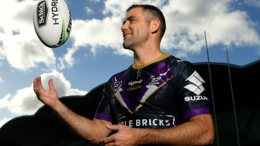 New mark for longevity: Cameron Smith poses for photographs at AAMI Park in Melbourne to mark his 400th game this weekend.